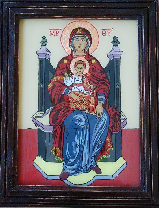 Icoana Maica Domnului cu pruncul - pictata de Mirela Moldor. http://mirela-moldor.ro/icoane/fecioara-cu-pruncul-2/