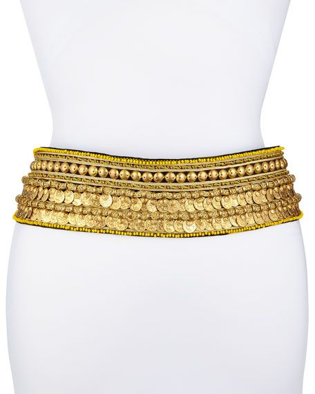 Golden Coin Tassel-Tie Belt Oscar de la Renta Golden Coin Tassel-Tie Belt $1,790.00