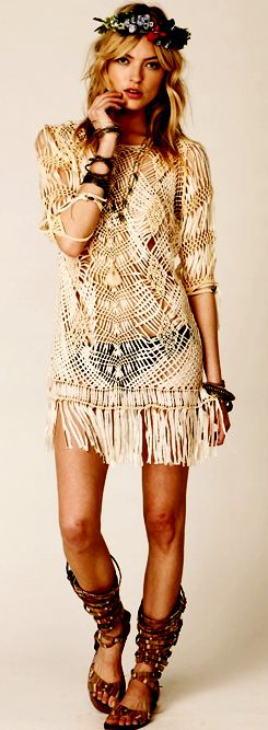 Sexy gypsy modern hippie style fringe tunic swimsuit cover up for summer, headband strappy sandals for a Bohemian look. FOLLOW http://www.pinterest.com/happygolicky/the-best-boho-chic-fashion-bohemian-jewelry-gypsy-/ for the BEST boho chic fashion trends jewelry.