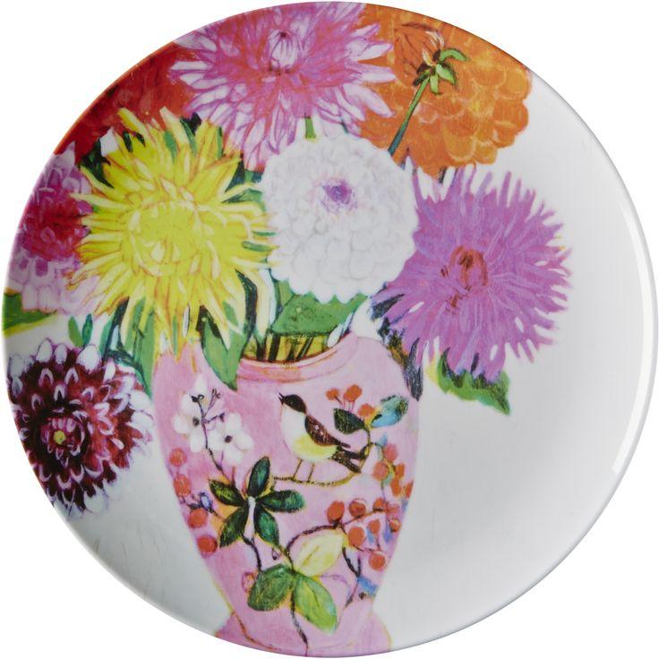 Melamine Dinner Plate with Andrea Dahlia Print