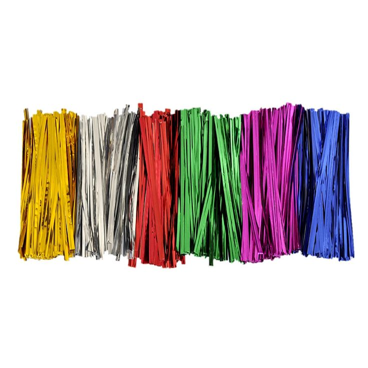 BWS 300 Metallic Twist Ties - 50 Each 6 Colors Red Silver Gold Pink Blue Green Craft Favors Garden Bread Treat Bags (1). Includes about 50 each of six shiny colors: gold, blue, red, silver, magenta and green. Perfect for gift wrapping, tying loot bags, scrapbooking embellishments and more. Use in the garden to tether your vines and plants to stakes and trellises. Keep your newly baked bread, popular sweets and candies, and all kinds of produce fresh for longer with plastic bag ties. Each…