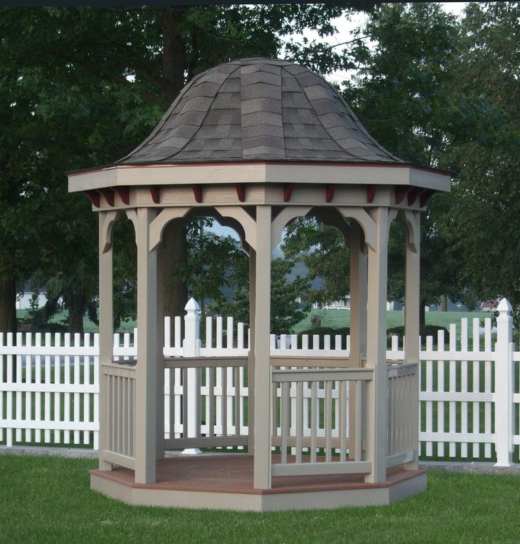 Clay Colored Octagon Vinyl Gazebo With Bell Top Roof