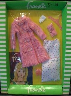 Vintage Mattel Francie - NRFB - Shoppin' Spree 1261 (1966) The two piece pink and white set... so pretty!