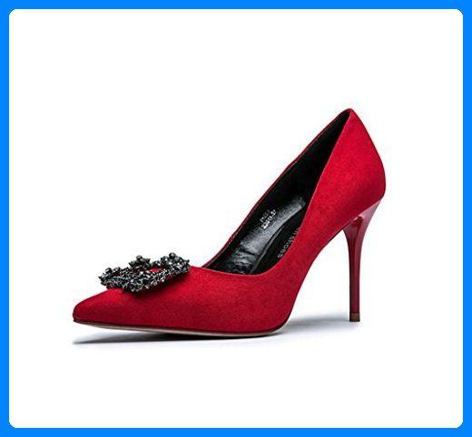 Frühling und Sommer elegante high-heeled Schuhe sexy Dame zeigte flache Mund Hochzeit Schuhe ( Farbe : Rot , größe : 34 ) - Sandalen für frauen (*Partner-Link)