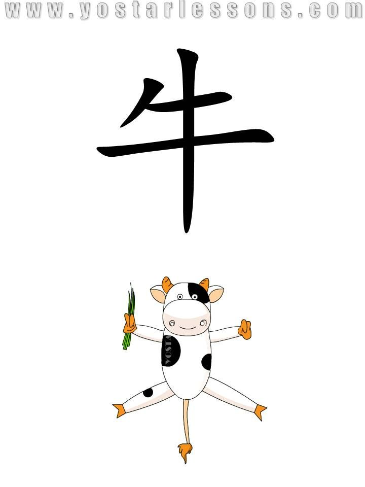 牛 = cow. Shaped like a cow with grasses in hand. Detailed Chinese Lessons @ www.yostarlessons.com