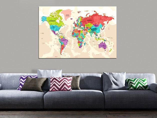 Obraz MAPA ŚWIATA 90x60 k-A-0072-b-a - artgeist - Wydruki na płótnie #map #dekor #print #world #obraz