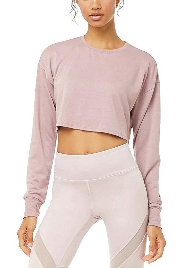 f06754befe8987 Bestisun Crop Top for Women Cute Long Sleeve Flattering Crew Neck Workout  Blouses Tunic Super Soft Casual Plain Shirts Thumb Holes Top Pink S