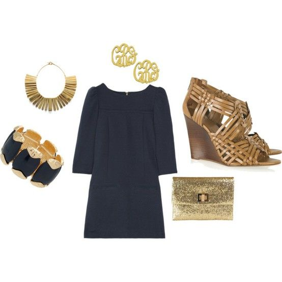 : Fashion Statement, Navy Gold, Southern Charms, Dresses Shoes, Outfit, The Dresses, The Navy, Gold Accessories, My Style
