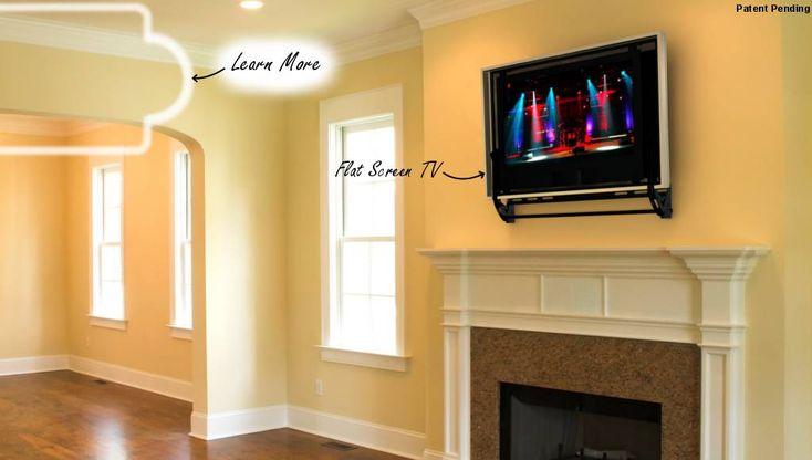 25 best ideas about hidden tv mount on pinterest flat for Motorized tv mount over fireplace