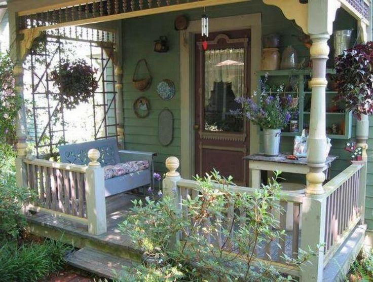 Sweet country cottage style front porch!