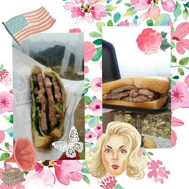 山頂春のパン祭り 7 右:盛りすぎた、自重はしない。左:ステーキホットサンド #登山 #登山女子 #ホットサンド #山ご飯 #山飯 #ステーキ #盛りすぎた #肉 #重い