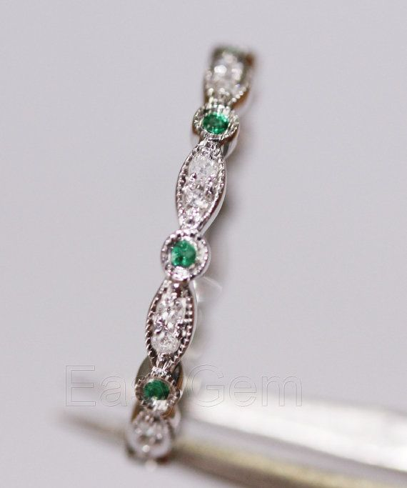 Antique Art Deco Emerald Diamond14K White Gold Full Eternity Band Wedding Ring/emerald/sapphire/emerald/sapphire/rose gold/Morganite ring on Etsy, $199.00