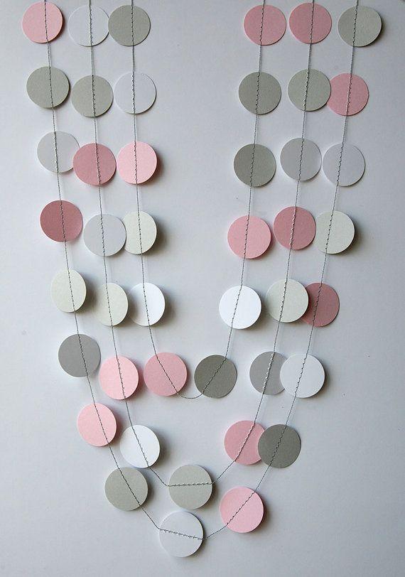 Guirnalda rosa, gris y blanco - Primer cumpleaños bebé - Cumpleaños rosa, Guirnalda pastel,  Guirnalda de papel - Bodas