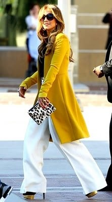 ha! i have this coat!Leopards Clutches, Fashion, Jennifer Lopez, Style, Fall Winte, White Pants, Animal Prints, Yellow Coats, Mustard Yellow