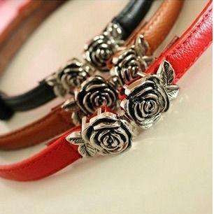 Graceful Retro Style Candy Color Rose Buckle Embellished Belt (COLOR ASSORTED) - Sammydress.com