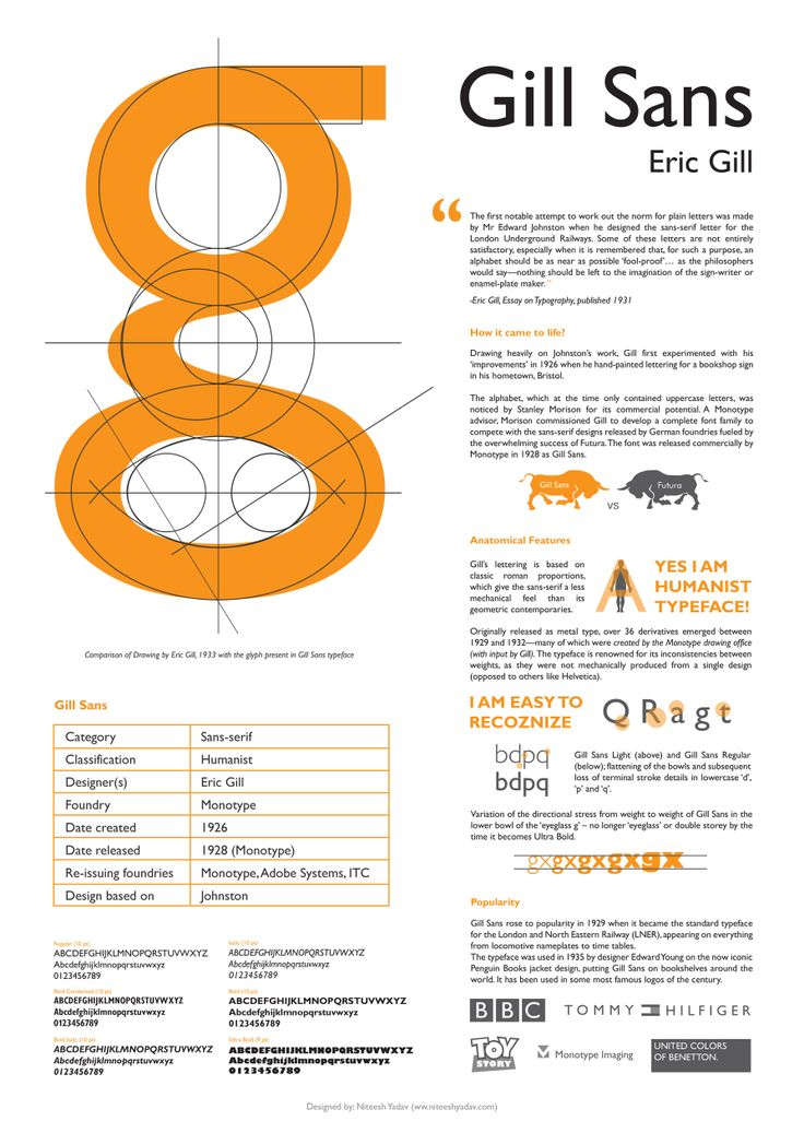 Gill Sans. This is a great in depth look at Gill Sans, one of my favorite typefaces. Added December 18, 2013.