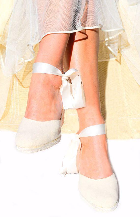 4bb44ef0f Ivory CHLOE Medium Wedge Lace Up Espadrille Wedding Bridal shoes ...