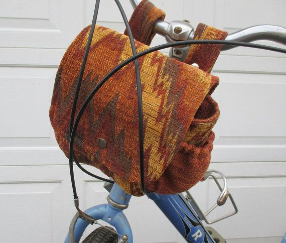 Orange Bike Bag  Bicycle Bag Converts To A Purse by bungalowquilts