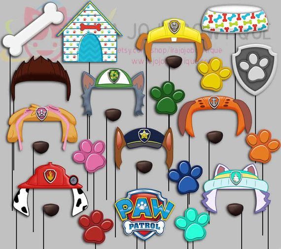 Dogs Party Photo Booth Props Paw Patrol Party by IraJoJoBowtique