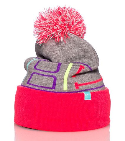 NIKE Winter beanie Pom pom detail on top Contrasting neon colors JUST DO IT lett…