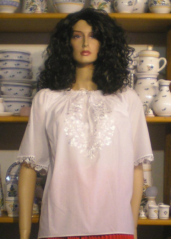 White embroidered blouse, washable (30 C) with Hungarian folk motives on it.