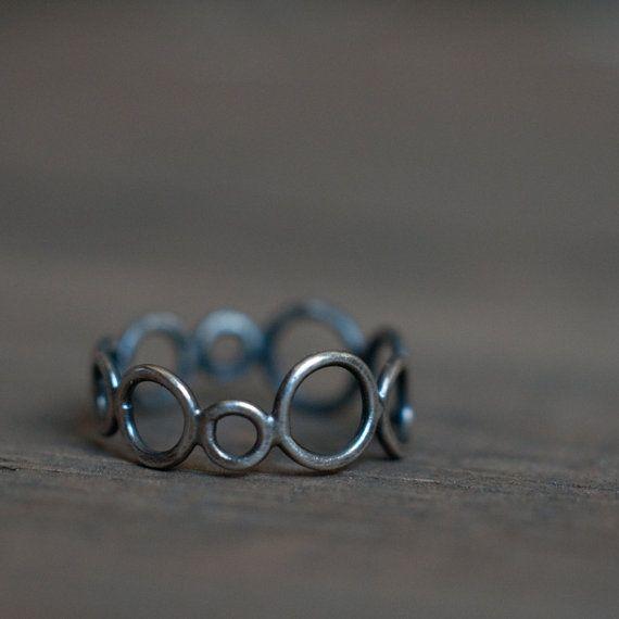 KREIS anillo, anillo de círculo de plata esterlina, oxidado y ennegrecido plata…