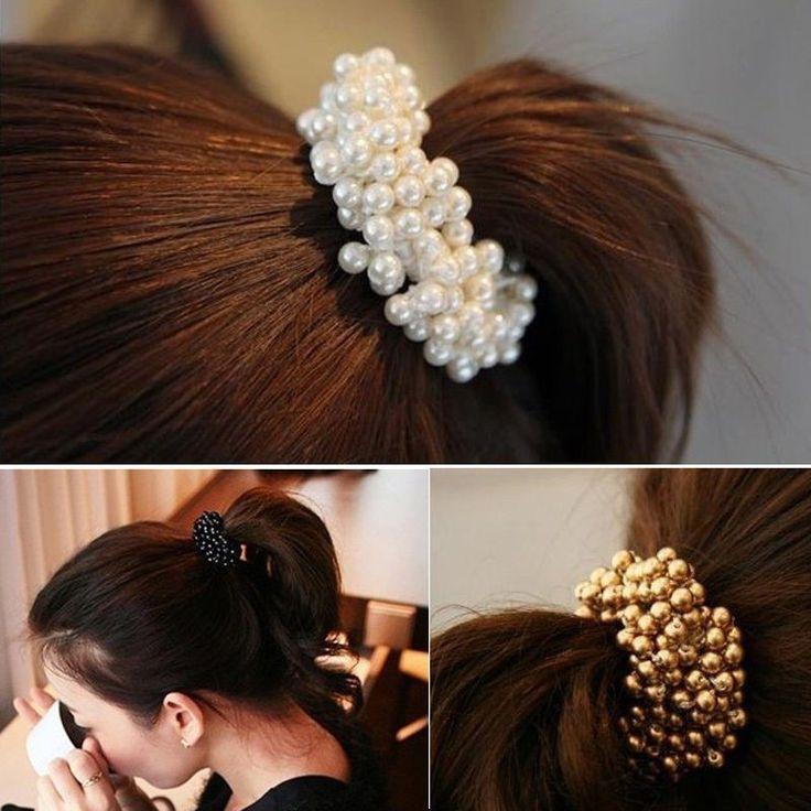 Korean Style Women Hair Accessories Circle Pearls Beads Headbands Gum for Hair Scrunchie Ponytail Elastic Hair Band