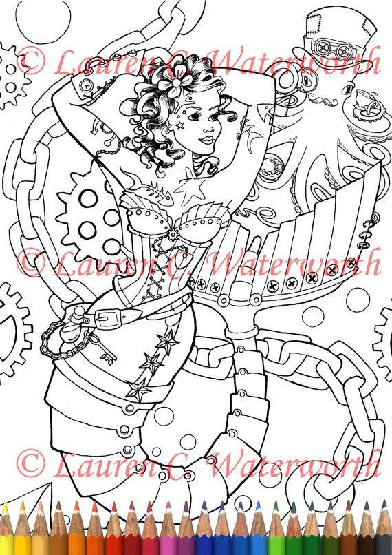 Steampunk sirène Page à colorier téléchargement télécharger imprimable sirène fantastique mythologie pieuvre pin-up mécanique
