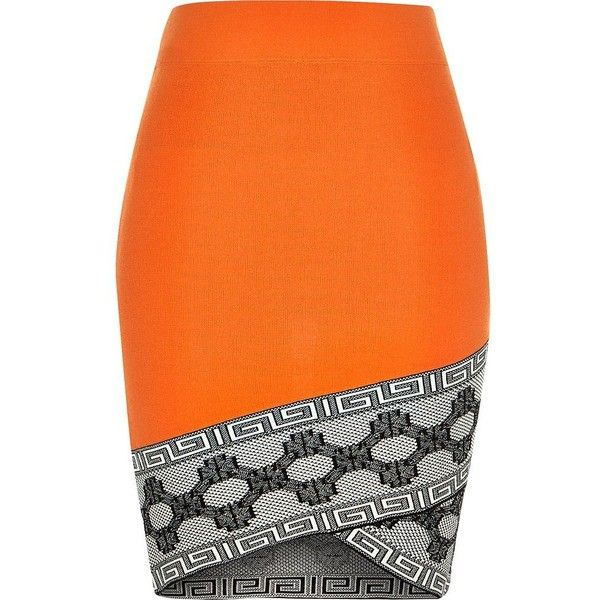 River Island Orange knitted pattern hem pencil skirt found on Polyvore featuring skirts, orange, mini skirts, women, river island, fitted skirts, patterned pencil skirt, wrap skirt and pattern skirt