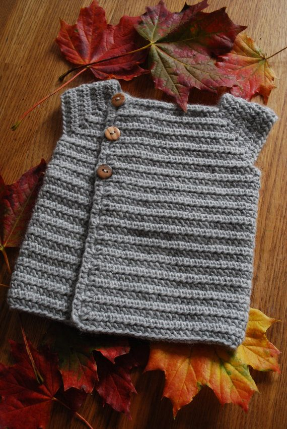 Crochet baby cardigan in organic merino, super snuggly