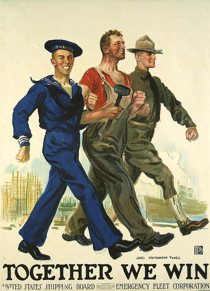 Home Front: World War I Poster - Main line labor unions were in step with the army and navy. Following the war, there was an economic  depression. Workers were more likely to strike.