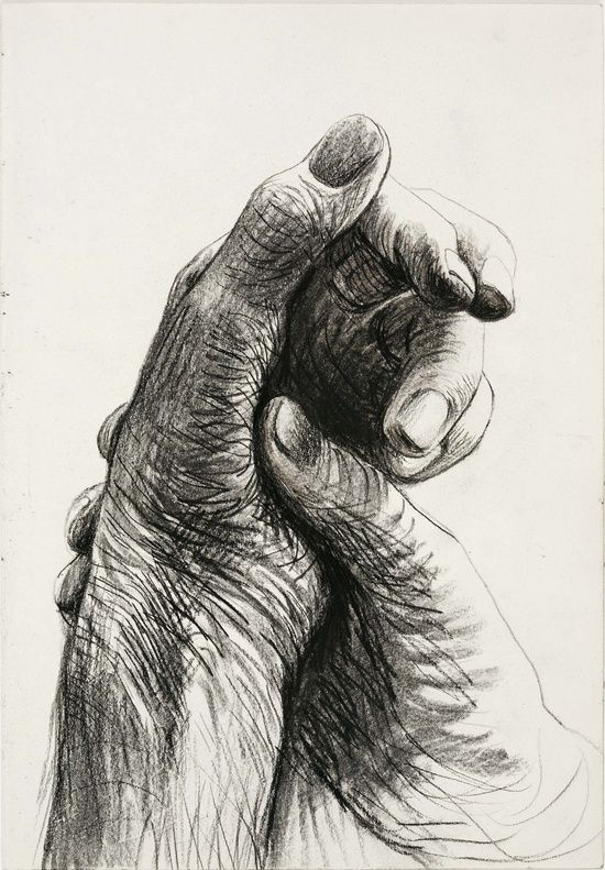 Henry moore the artist s hand circa 1974pencil wax for Drawing on wax paper