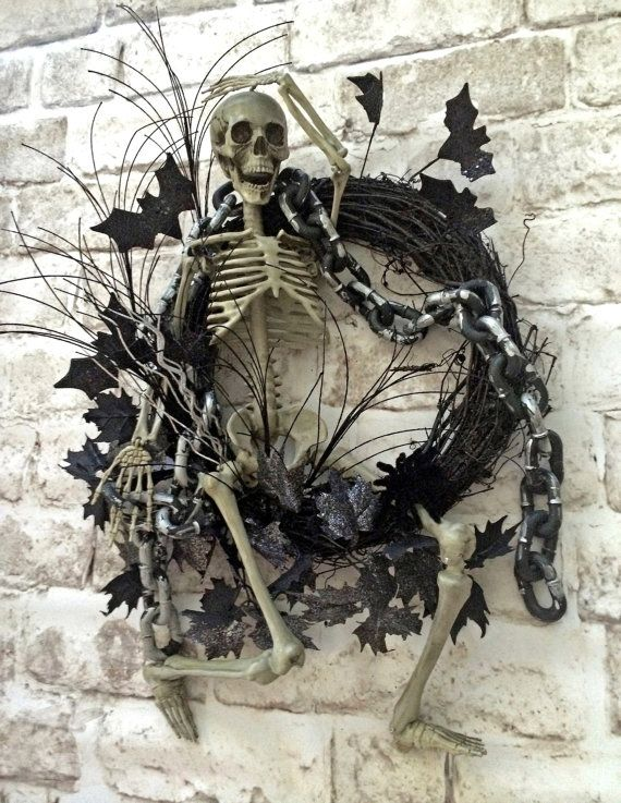 Skeleton Wreath, Halloween Wreath, Halloween Skeleton, Halloween Decor, Halloween Door Wreath, Halloween Decoration, Skeleton Decor, Creepy, Scary, Spooky, Wreath on Etsy, by Adorabella Wreaths!
