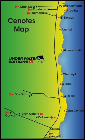 cenote maps Scuba diving in Cenote Cavern Cave Angelita in The Riviera Maya Tulum Playa del carmen