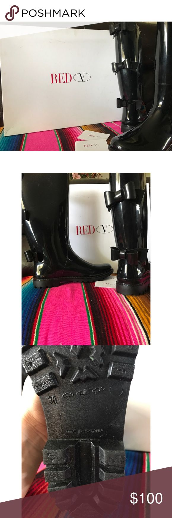 RED Valentino black Rain boots Super cute comfy rain boots!! Excellent condition, barely used because it's barely rains over where I live so why not get rid of them? Size 8, and they don't run small around the calves area because that's one of my struggles lol, feel free to ask any more Qs!! RED Valentino Shoes Winter & Rain Boots