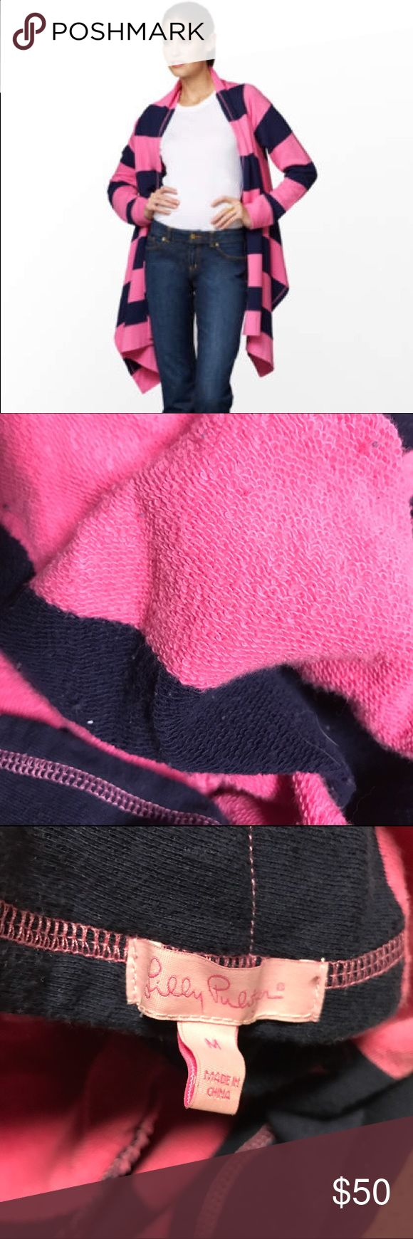 Lilly Pulitzer norma wrap cardigan striped Size medium, terry knit cardigan in a pink and dark blue stripe. Really hard to photograph this well so used the stock photo to show the product. Warm and comfortable! In good condition with no flaws that I can find. Feel free to make offers no trades or 'lowest price?' Thanks! Lilly Pulitzer Sweaters Cardigans
