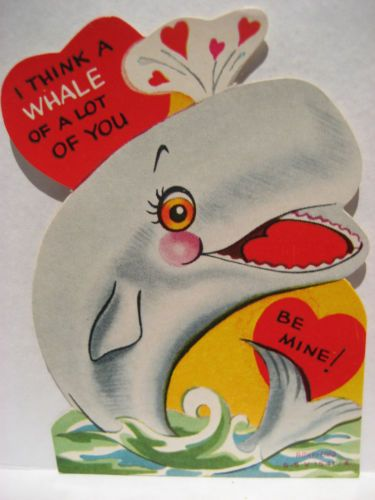 Vintage Valentine Card Grey Whale I Think A Whale Of A Lot