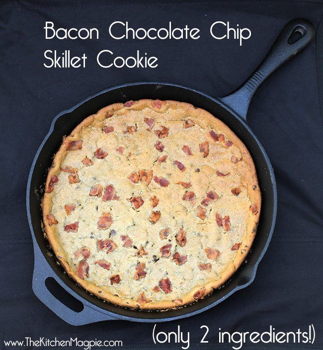 My delectable Giant Bacon Chocolate Chip Skillet Cookie recipe, the ultimate camping dessert! You only need two ingredients & a skillet!