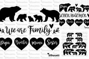 bear family silhouette svg ds pinterest svg cuts silhouette