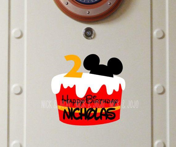 Personalized Mickey Birthday Cake Disney Cruise Door Magnet