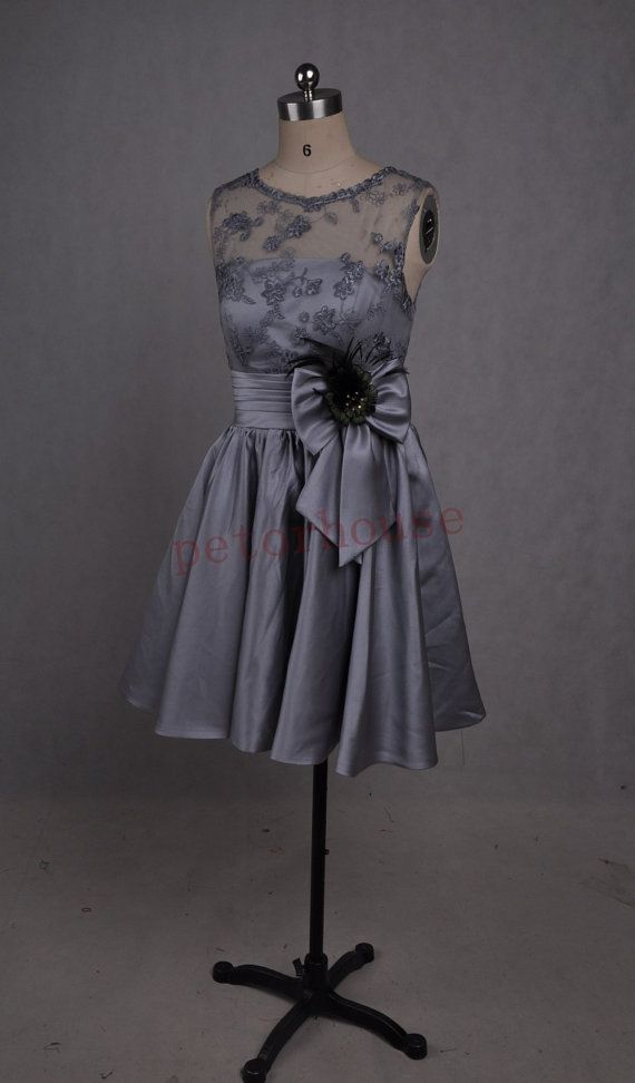 Gray Lace Satin Short Prom Dresses 2015 Bridesmaid by petorhouse