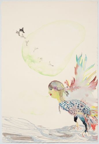 Rina Banerjee - Hen of ornamental oriental very fine and fingered feathers she drew and blew the greenest bubbles, threw away one others as ...
