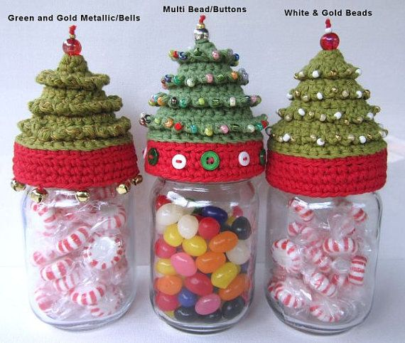 Pint Mason Jar Christmas Tree Topper Crochet Pattern - Holidays Candy Jar - Crochet Jar Cover Christmas Gift Idea