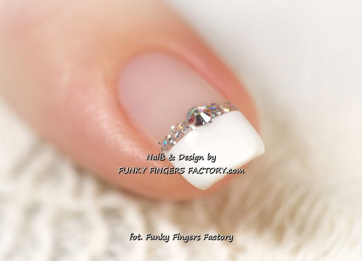 Swarovski Crystals for finger nails | Gelish Wedding nails with Swarovski crystals | FUNKY FINGERS FACTORY