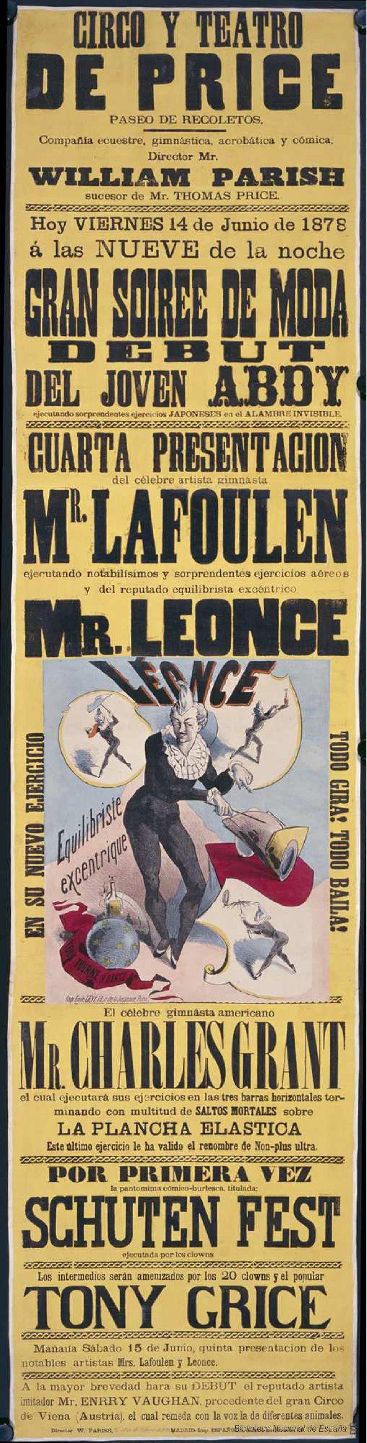 Gran soiree de moda. Circo Price — Dibujos, grabados y fotografías — 1878 http://bdh-rd.bne.es/viewer.vm?id=0000032883