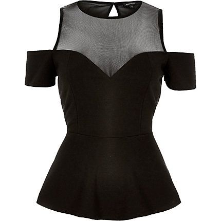 Black mesh cold shoulder peplum top $56.00