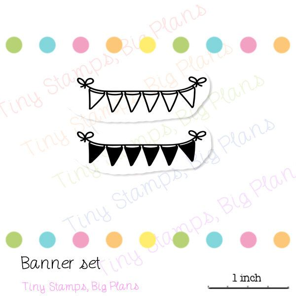 Planner stamps - flag banner set by TinyStampsBigPlans on Etsy https://www.etsy.com/listing/231043226/planner-stamps-flag-banner-set