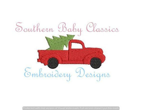 Christmas Tree Truck Mini Fill Stitch Design File For Embroidery Machine Instant Download Christmas Tree Truck Christmas Embroidery Designs Embroidery Designs