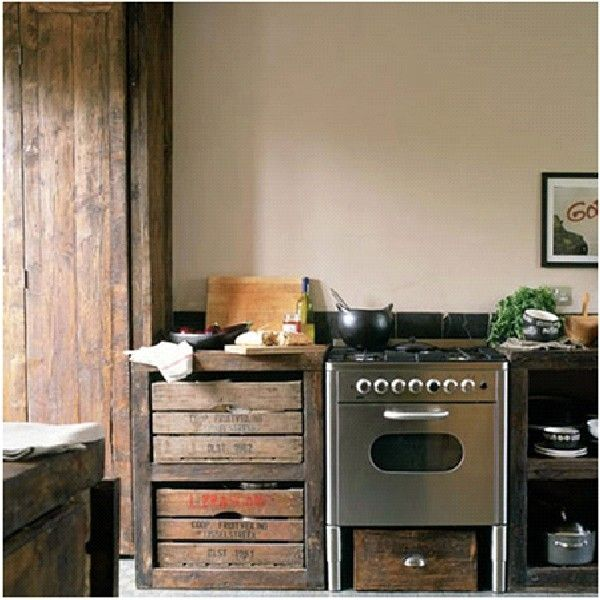 Unique & Unusual Kitchen Cabinets Styles Design : : Mismatched DIY Kitchen Cabinet Design From Recycled Shipping Crates To Thrift Shop Furniture Finds To Quirky Metal Filing Cabinets Ideas