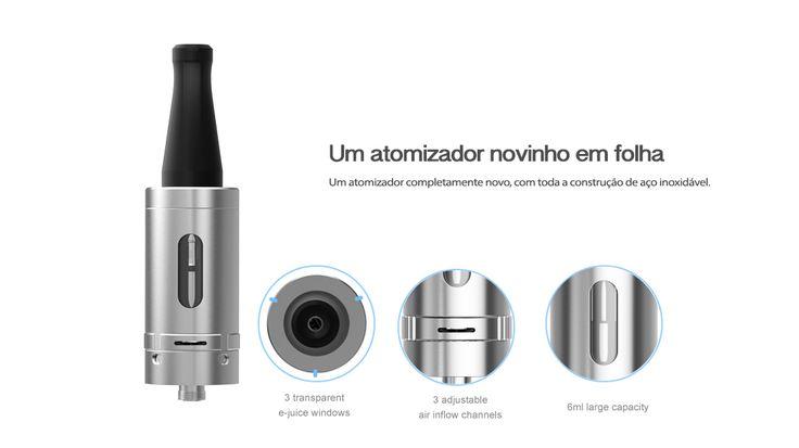 Atomizador para fazer muita fumaça no cigarro eletrônico. Esta na lista dos mais vendidos entre os vapers. A Qismoke tem em Preto e Prata http://www.qismoke.com/pt/atomizadores/23-delta-joyetech-atacado.html